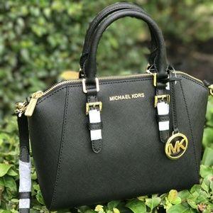 Michael Kors Ciara MD Messenger Leather Balck Bag